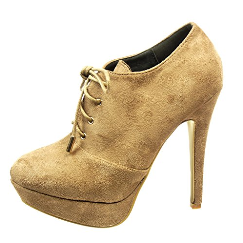 Angkorly - Women's Fashion Shoes Ankle boots - Booty - low boots - stiletto - platform Stiletto high heel 12 CM Khaki pBDXu