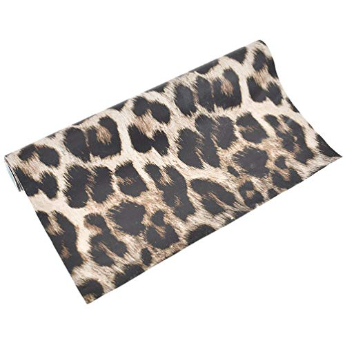 (Kesheng A4 Leopard Print Synthetic Leather Fabric DIY Sheet Canvas Back Great for Hair Bows Making Craft 11.4 x 8.26 Inch)