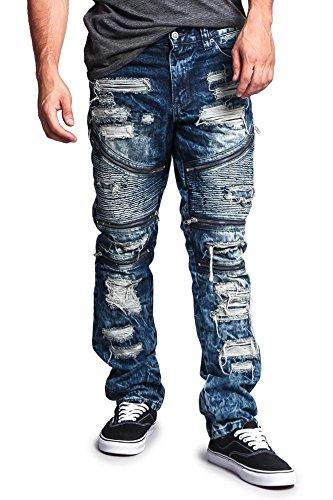 G-Style USA Men's Biker Distressed Wash Slim Jeans DL1010 - Dark Indigo - 40/32 - G19C