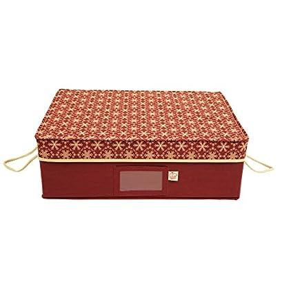 Santau0027s Bags Christmas Ornament Storage Box Red Fabric 20 In. X 14 In. X