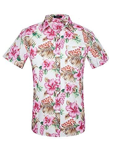 Men's Hawaiian Short Sleeve Shirt- MCEDAR Aloha Flower Print Casual Button Down Slim Fit Beach Shirts With Pocket(XXL, - Mens Pattern Flower