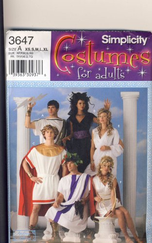 Simplicity Sewing Pattern - 3647 - Use to Make - Adult Costumes - Men's & Misses Tunic Style Greek Outfits - Sizes XS to XL