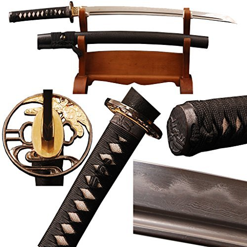 Shijian Handmade Japanese Samurai Wakizashi Real Sharp Sword Folded Hamon Clay Tempered Can Customize