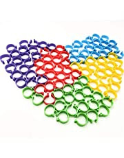 20mm Chicken Leg Bands with 5 Colors Mixed Clip-on Leg Ring Foot Ring ID Tags for Ducks, Hens, Large Birds, Geese (100 Pieces)