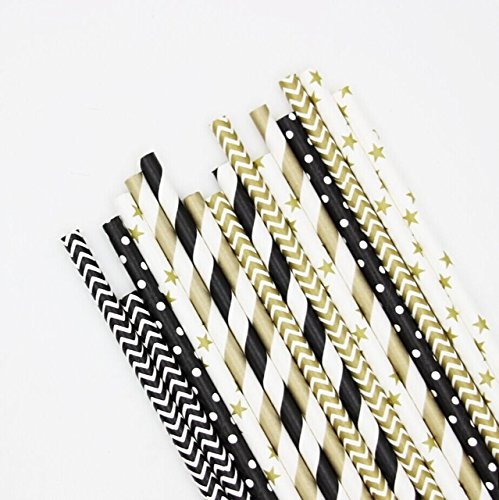 Present Avenue Hollywood New years holiday paper straws in polka dot stripe and star design, Pack of 150