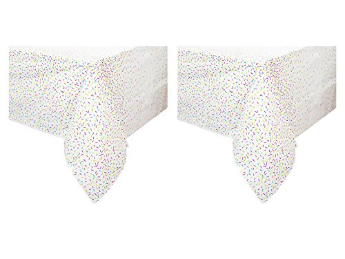 (Unique Industries 2 Pack Plastic Birthday Party Tablecover (Rainbow Sprinkles, 54