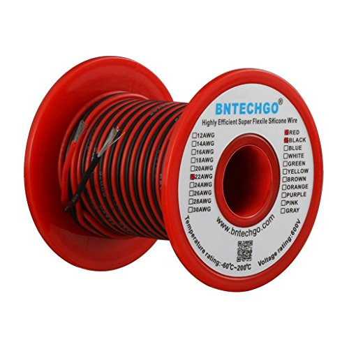 BNTECHGO 22 Gauge Silicone Wire Spool 50 feet Ultra Flexible High Temp 200 deg C 600V 22 AWG Silicone Wire 60 Strands of Tinned Copper Wire 25 ft Black and 25 ft Red Stranded Wire for Model ()