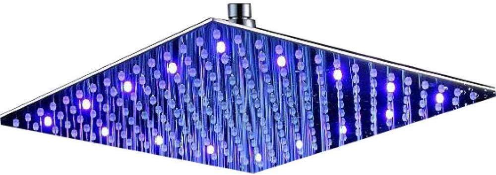 Dmygo Multi Function Doccia palmare soffione 300 Color : 12 inch No LED 300mm Piazza Acciaio Inox 304 LED Pioggia Modificare Il Colore Doccia
