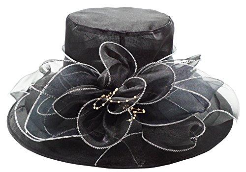 - Bellady Womens Organza Ruffles Wide Brim Church Derby Hat Kentucky Tea Party Wedding Hat,Black,One Size