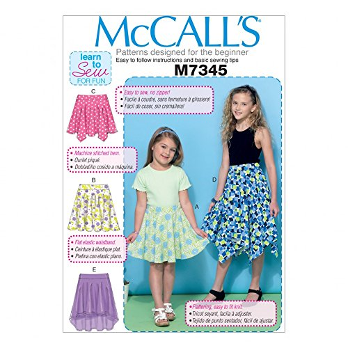 (McCalls Girls Easy Learn to Sew Sewing Pattern 7345 Straight, Handkerchief & High Low Hem Skirts)