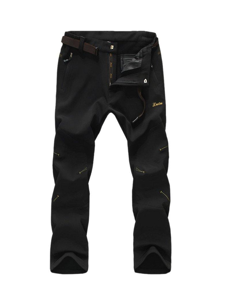 Geval Mens Windproof Waterproof Softshell Fleece Ski Pants Black,L