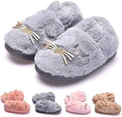 Girls Boys House Slippers Winter Indoor Slip-on Warm Shoes Tongzone Little//Big Kids Cute Cat Slippers