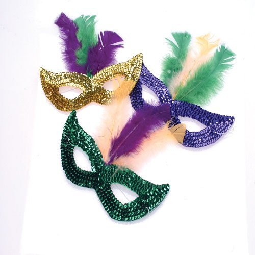 DollarItemDirect Mardi Gras Sequin Masks with Boa Feathers, Sold by 5 Dozens