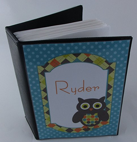 Owl photo albm 551 Teal Retro Personalized baby shower gift. baby photo album. 4x6 Photo Album 100 pictures