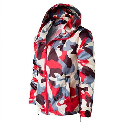 Hombres chaqueta casual casual elegante camuflaje-cap crema solar ropa chaqueta de abrigo, camuflaje rojo ,XL
