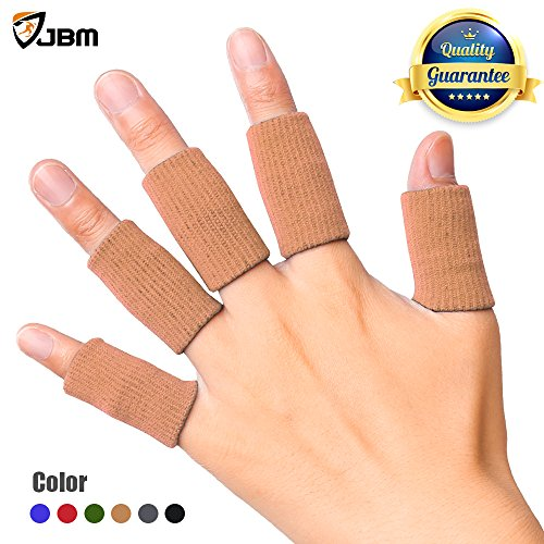 JBM Adult Finger Brace Splint Sleeve Thumb Support Protector Soft Comfortable Cushion Pressure Safe Elastic Breathable for Basketball Volleyball Baseball Badminton Tennis Boating GYM (Brown)
