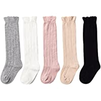a0e25a3a572 Epeius Baby Girls Boys Uniform Knee High Socks Tube Ruffled Stockings  Infants and Toddlers (Pack