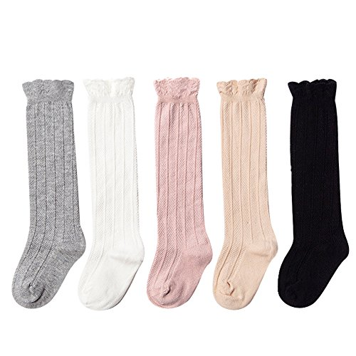 Epeius 5Pair Pack Little Girls Boys Seamless Uniform Knee High Socks Kids Girls Tube Ruffled Stockings for 3-5 Years,White/Black/Grey/Pink/Beige]()