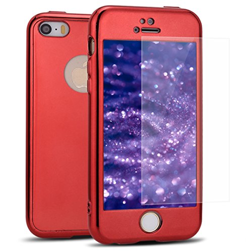 Price comparison product image iphone 5S / SE Case, IKASEFU Crystal Clear Soft TPU Bumper Electroplating Mirror Back 360 Degree Ultra-Thin Flexible Premium Case + Tempered Screen Protector Film Cover for iphone 5S / SE, Red