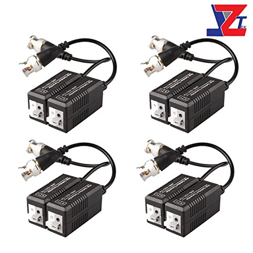 (JZTEK 4 Pairs 8 Pieces Passive Video Balun Transmitter & Transceiver with Cable for 1080P TVI/CVI/TVI/AHD/960H DVR Camera CCTV System, Male BNC to UTP CAT5/5e/6/6e Cable, No Power Required)