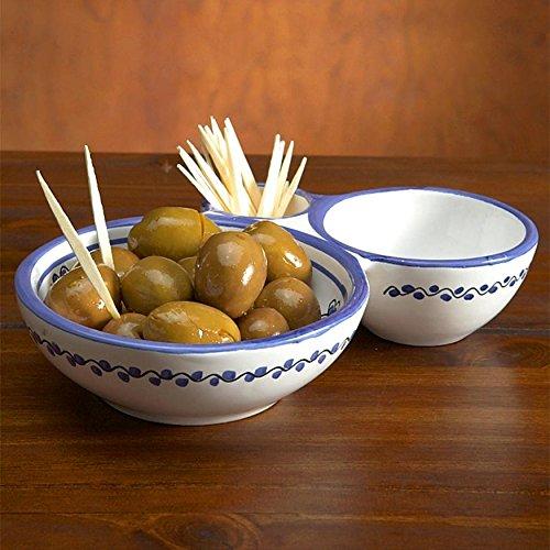 El Puente del Arzobispo Blue Flor Handpainted Ceramic Olive Dish by El Puente del Arzobispo (Image #1)