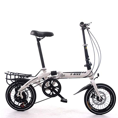 City Bike Unisex Adults Folding Mini Bicycles Lightweight for Men Women Ladies Teens Classic Commuter with Adjustable Handlebar & Seat,Aluminum Alloy Frame,7 Speed - 16 Inch Wheels,White,14inches