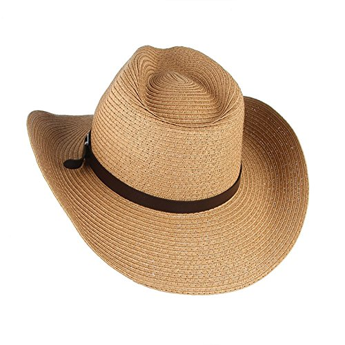 c2af86ca Amazon.com : ALWLj Trendy Wide Brim Straw Hats Sun Hat Cowboy Cowgirls Caps  Beach Jazz Cap Summer Hat : Sports & Outdoors