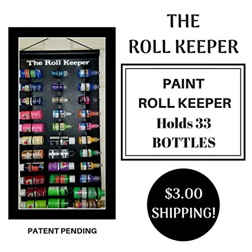 The Roll Keeper for Craft Paint-2.5 oz Bottles of Paint-Hanging Craft Storage-Craft Paint Storage-Craft Room Organizer-Black Color-Holds 36 Bottles from The Roll Keeper