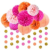 NICROLANDEE Pink and Orange Birthday Party Decoration Pack Paper Lanterns Tissue Flower Poms Gold Glitter Garland for Flamingo Bachelorette Birthday Baby Shower Thanksgiving Fiesta Festival Decor