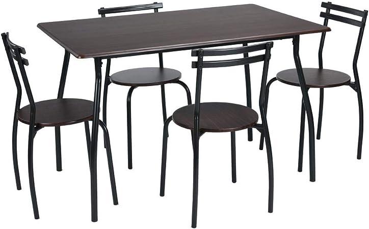 Homy Casa - Juego de mesa de comedor de 5 piezas, 4 sillas, muebles de cocina, marco de metal, juego de bistró (Wenge): Amazon.es: Hogar