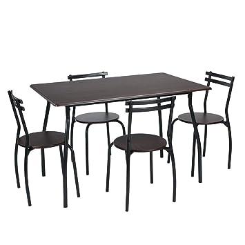 Homy Casa 5pc Table De Salle A Manger 4 Chaises Salle A Manger Ensemble De Meubles De Cuisine Metal Cadre Table De Bistrot Wenge