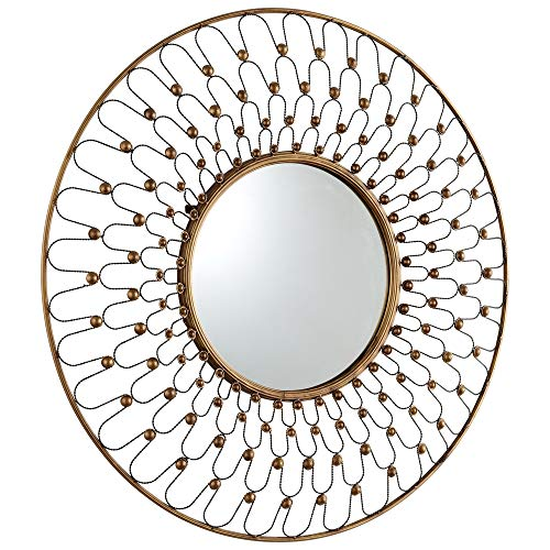 - Zinc Decor Large Round Contemporary Wall Mirror Gold Metal Frame