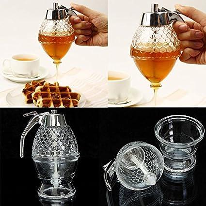 200ML Honeycomb Dispenser Acrylic Honey Pot Gravy Boats Crystal Syrup Dispenser