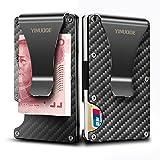 credit card holder with clip - Carbon Fiber Credit Card Holder RFID Blocking Anti Scan Metal Wallet Money Cash Clip