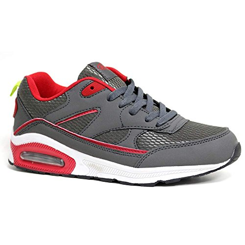 Ladies Running Trainers Air Tech Womens Shock Absorbing Fitness Gym Sports Shoes Size 3 4 5 6 7 8 Grey / Red p21pGo0
