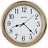 8.5 Inch Simply High-end Plastic Decorative Wall Clock, Water Resistant, Special for Small Space, Office, Boats, RV (W86009 Gold-plated )