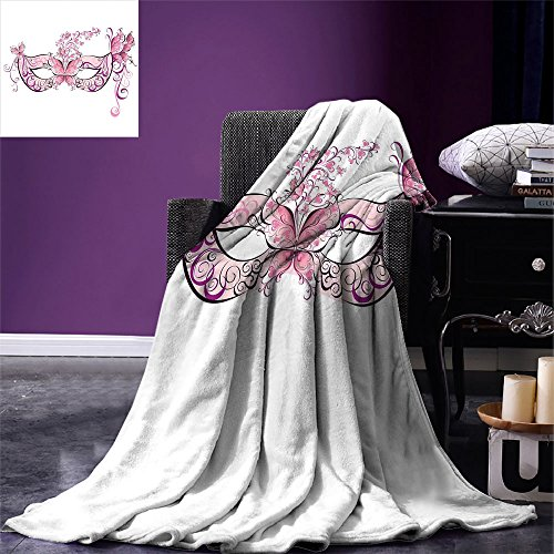 smallbeefly Masquerade Digital Printing Blanket Butterfly Masks for Masquerade Italian Fantasy Floral Design Art Print Summer Quilt Comforter Pink Purple White for $<!--$50.76-->