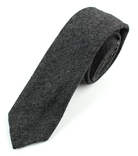 Men's Wool Herringbone Skinny Necktie Tie - Black and Gray