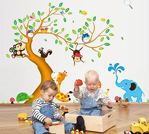 Tree with Animal Zoo Wall Stickers,DIY Kids Room Wallpaper Making House Vitality Corful
