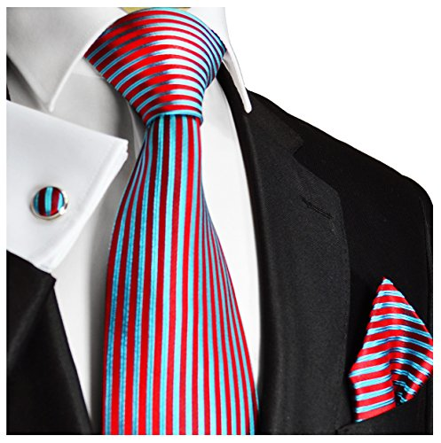 (Paul Malone Necktie Set 100% Silk Tie, Handkerchief and Cufflinks, Red and Turquoise )