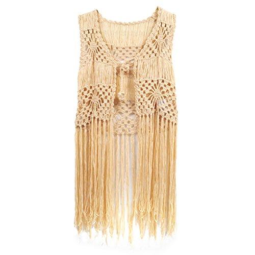 Crochet Fringe (Acemi Free Size Sleeveless Perspective Lace Crochet Long Fringe Bikini Cover up Hippie Summer Beachwear (Apricot))