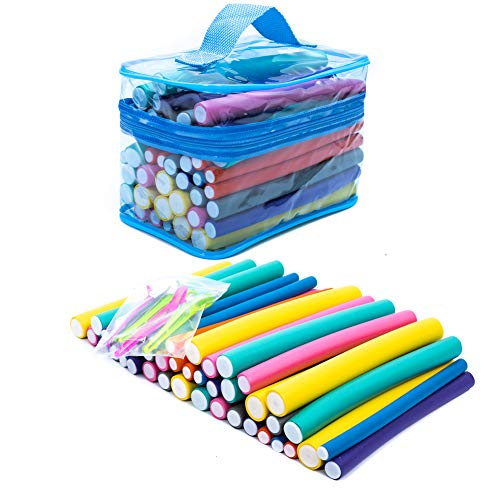 42-pack Twist Foam Hair Rollers Bendy Foam Flexible Curling Rods- Hair Curlers Rollers 7 Sizes for Short, Medium and Long Hair