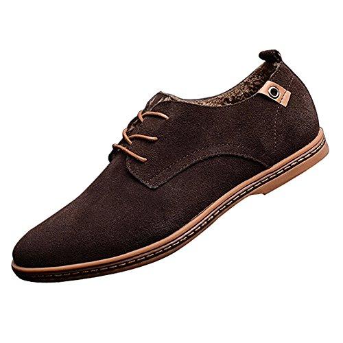 Gleader NUEVOS zapatos de gamuza de cuero de estilo europeo oxfords de los hombres casuales con terciopelo mantener caliente Marron(tamano 47)