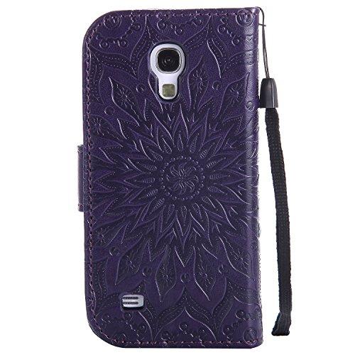 Funda Samsung Galaxy S4 Mini S4Mini i9190 Case , Ecoway Girasoles patrón en relieve PU Leather Cuero Suave Cover Con Flip Case TPU Gel Silicona,Cierre Magnético,Función de Soporte,Billetera con Tapa p púrpura