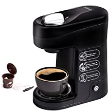 Baskiss Single Cup Coffee Maker, Coffee Machine Compatible With K-Cups, Quick Brew Technology, 1 Reusable Solo Filter Included