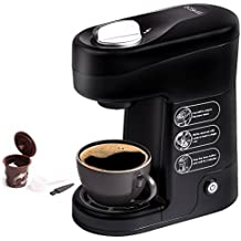 Baskiss Single Serve Coffee Maker, Coffee Machine with Quick Brew Technology for Most Singer Cup Pods, 1 Reusable Solo Filter Included