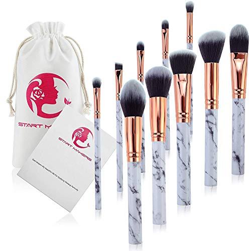 Makeup Brushes Professional 10 Pieces Marble Makeup Brush Set for Powder Cream Foundation Concealer Blush Eyeshadow Eyebrow Lip Make Up Brushes