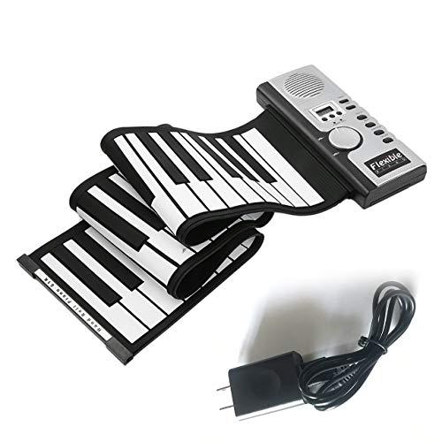 友美 61キー電子ピアノキーボードシリコンフレキシブルロールアップデジタルピアノ128トーン子供のためのおもちゃ学習初心者教育玩具