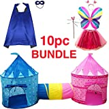 Playz 10-Piece Boys & Girls Dress Up Castle Play Tent Bundle with Crawl Tunnel, Butterfly Wings, Tiara Crown, Princess Wand, Tutu Dress Up Costume, Superhero Cape and Mask for Prince & Princess