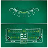 2 Sided Blackjack and Craps Felt Layout - Includes Bonus Deck of Cards!